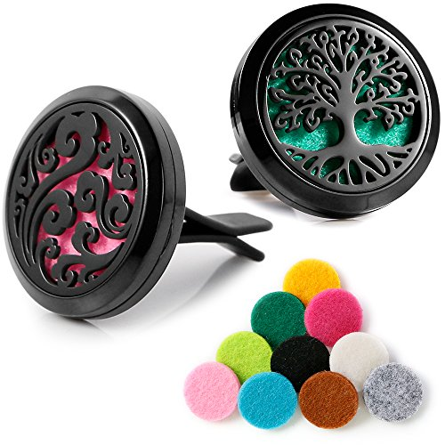 Price comparison product image Maromalife Black Vent Clip Car Diffuser Locket Set Stainless Steel Black Tree and Cloud 2 Packs
