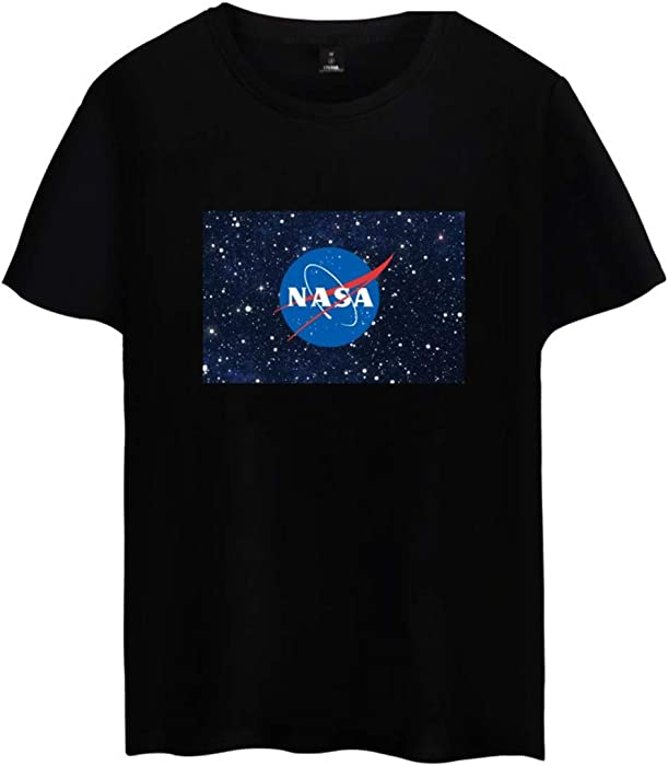 ee271d6d7 EMILYLE Mujer Chica NASA Aeronautico Planeta Galaxia Camiseta Top Tshirt  Manga Corta Deportiva