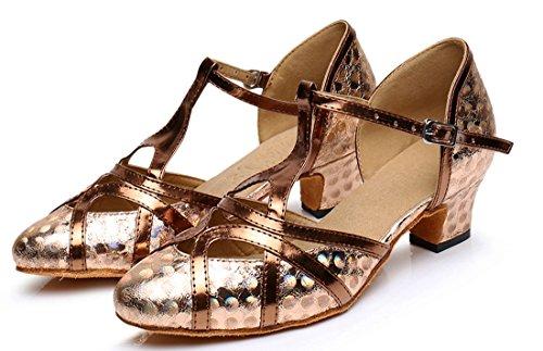F & M piel sintética para mujer Mid tacón Salsa Tango salón de baile zapatos de baile latino Party CM101 5cm Printing Brown
