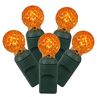 "Set of 100 Orange LED G12 Berry Christmas Lights 4"" Spacing - Green Wire"