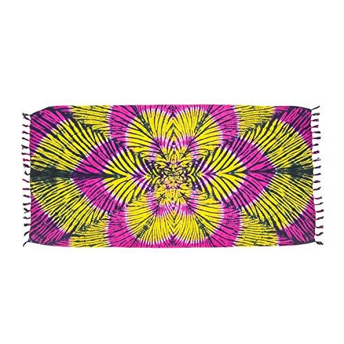 sauna forte foulard Giallo colori nel motivi Nero a portafoglio da donna pareo leggero e sarong batik 215x115 look sfrangiato ManuMar mare cm telo XXL spiaggia Rosa taglia gonna trasparente non SHw4xq8f