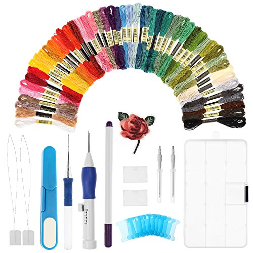 Magic Embroidery Pen, LEDOWP Embroidery Stitching Punch Needles Craft Tool Set Including 50 Color Threads for DIY Sewing Cross Stitching (Embroidery Magic)