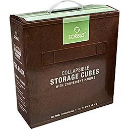 Sorbus Foldable Storage Cube Basket Bin (6 Pack, Chocolate)