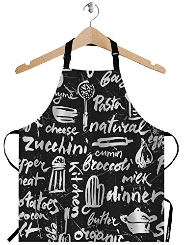 WONDERTIFY Kitchen Pattern Apron,Vintage Cook Salt Chef Chalk Pasta Pepper Bacon Organic Black White Bib Apron with Adjustable Neck for Men Women,Suitable for Home Kitchen Cooking Waitress Chef Apron
