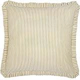 VHC Brands Boho & Eclectic Farmhouse Bedding-Joanna Tan Ticking Stripe Fabric Euro Sham (39463)