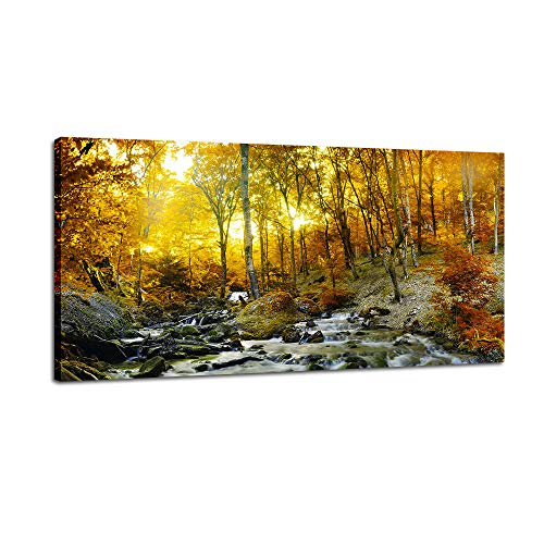 - DINGDONG ART Autumn Forest River Canvas Prints Stretched and Framed Wall Art Landscape Picture Gold Tree Poster Artwork for Living Room Home Decor 1 Pcs (24