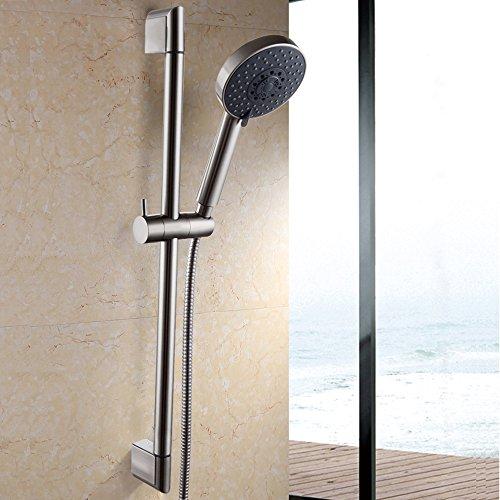 KES F200-2+KP501B-2 Five Function Massaging Hand Shower Head with Adjustable Slide Bar, Brushed - Slide Bar Adjustable