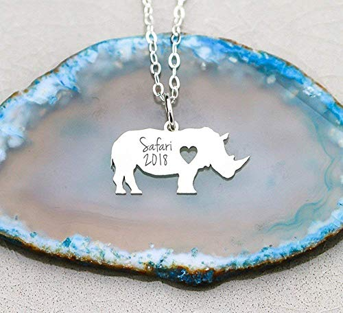 Rhinoceros Necklace - IBD - Wild Animal Lover Gift - African Safari- Choose Chain Length - Metal Type 935 Sterling Silver 14K Rose Gold Filled - Customize with name & date - Ships in 1 Business Day