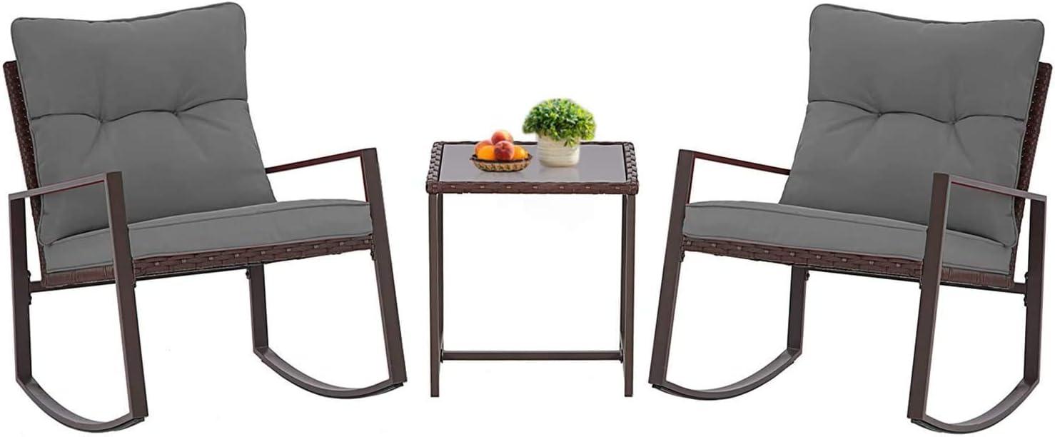 Incbruce Outdoor Indoor 3Pcs Patio Furniture Rocking Chair Set