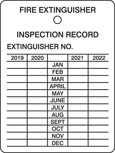 Accuform Fire Extinguisher 4 Year Inspection Tag, 2019 Start, Plastic, Pack of 5