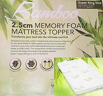 Lujo Calidad Hypo – hipoalergénico y colchón de espuma con efecto memoria de bambú Anti –