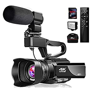 """Flashandfocus.com 51UGMiW7sZL._SS300_ Video Camera 4K Camcorder with Microphone 48MP Vlogging Camera WiFi YouTube Camera IR Night Vision 3"""" Touch Screen 30X Digital Zoom Camera Recorder with 360°Wireless Remote Control and Lens Hood"""