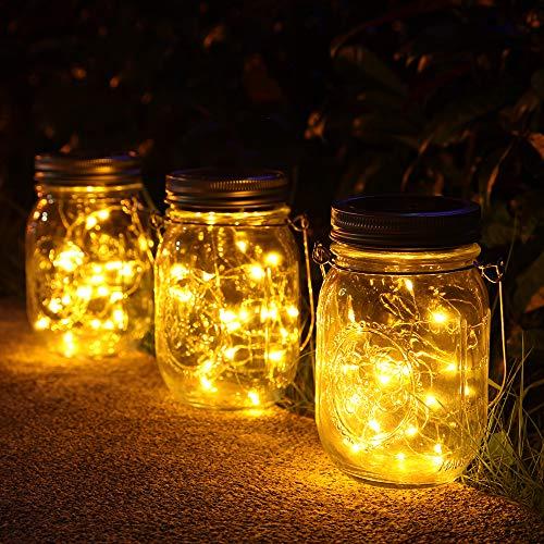 lamparas Solares Exterior,Juego de 3 Luz Solar Jardin, 30 LED Impermeable Solar Mason Luz Hada Jardin Luz Solar para Decoracion Jardin Fiesta Balcon Navidad vacaciones bodas (Color calido)