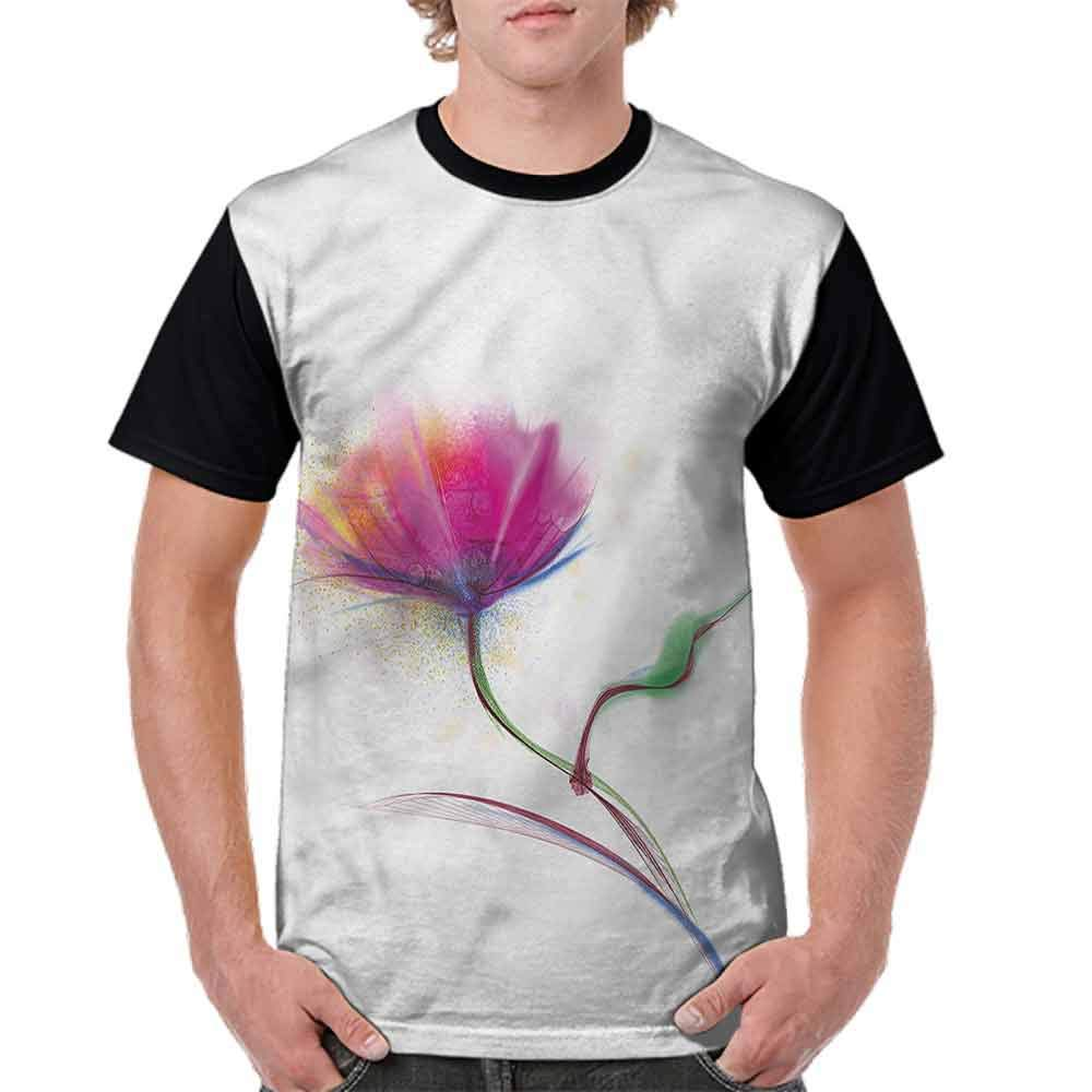 BlountDecor Trend t-Shirt,Watercolor Poppy Flower Fashion Personality Customization