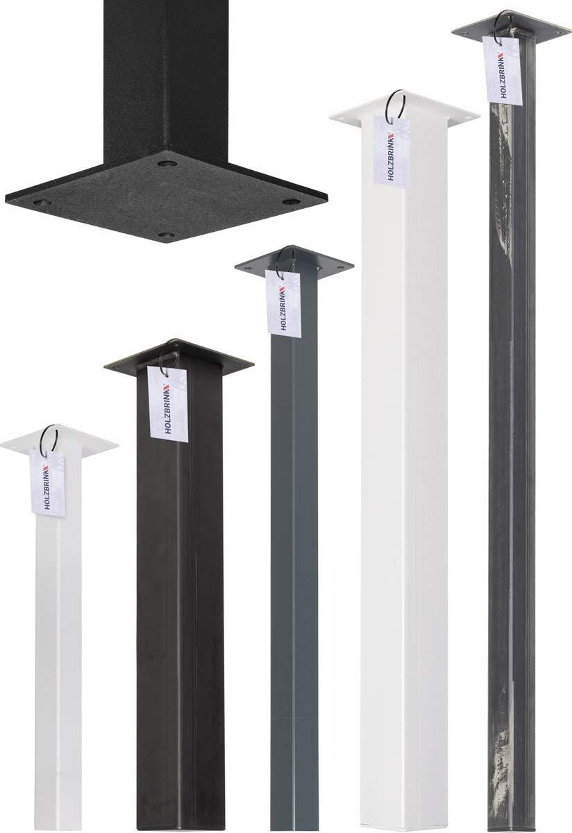 Perfil Cuadrado 80x80 mm Altura: 100 cm HOLZBRINK Pata de la Mesa de Acero HLT-14A-J-100-9016 1 Piezas Blanco Tr/áfico