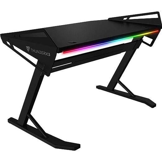 ThunderX3- Mesa gaming con iluminación RGB y altura ajustable,168 cm