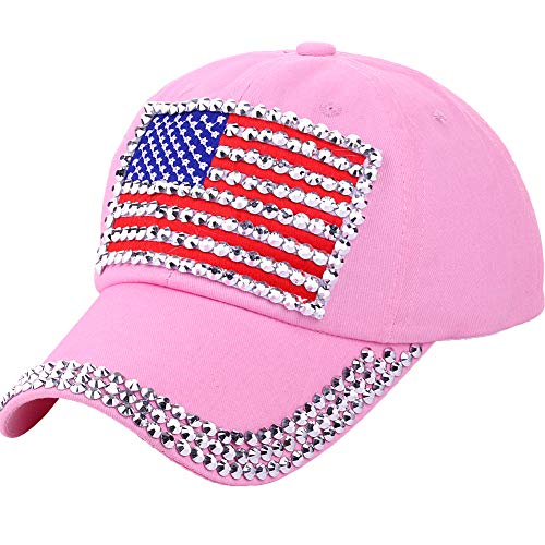 - CRUOXIBB USA Patriotic American Flag Baseball Cap Hat for Women Men 4th July Summer Sun Cap Pink