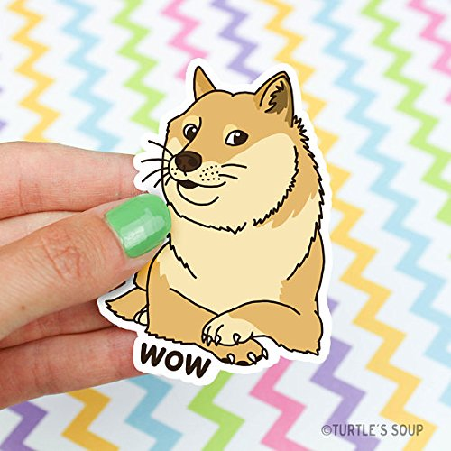 Doge Vinyl Sticker, Wow, Shiba Inu, Gift For Dog Lover, Meme Gifts, Geeky Gift, Cute Dog Stickers, Such Doge, Car Decal, Laptop Stickers