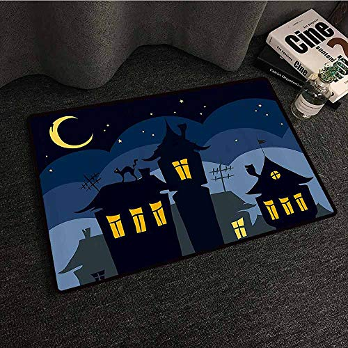 Halloween Interior Door mat Old Town with Cat on The Roof Night Sky Moon and Stars Houses Cartoon Art Super Absorbent mud W30 xL39 Black Yellow Blue -