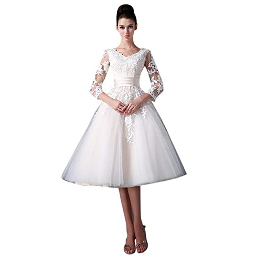 56fe9dd4a5e Mollybridal Tea Length V neck Wedding Dress Lace With 3 4 Illusion Sleeves  Short Champagne