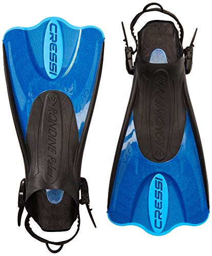 Cressi Palau Short Fins with Mesh Bag Snorkel Packages - Blue, Size - LGXLG