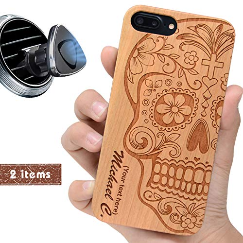 (iProductsUS Customized Phone case Compatible with iPhone 8, 7, 6/6S and Magnetic Mount-Wood Cases Engraved Sugar Skull and Name, Built-in Metal Plate, TPU Rubber Shockproof Cover (4.7)