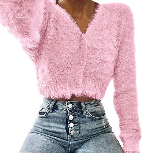 KaiCran Womens V-Neck Button Fluffy Mohair Long Sleeve Knit Crop Top Cardigan Sweater Tops (Pink, XL)