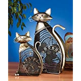 7 Hand Sculpted Feline Cat Mini Table Top Figure Fan