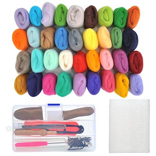Kit Needle Felt (WOWOSS 36 Colors Needle Felting Wool Set Starter Kit Wool Felt Tools)