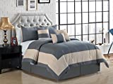 7-Pc Joey Windowpane Square Rectangle Bordered Boxed Stripe Comforter Set King Gray Beige