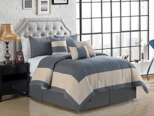 Rectangle Boxed (7-Pc Joey Windowpane Square Rectangle Bordered Boxed Stripe Comforter Set King Gray Beige)