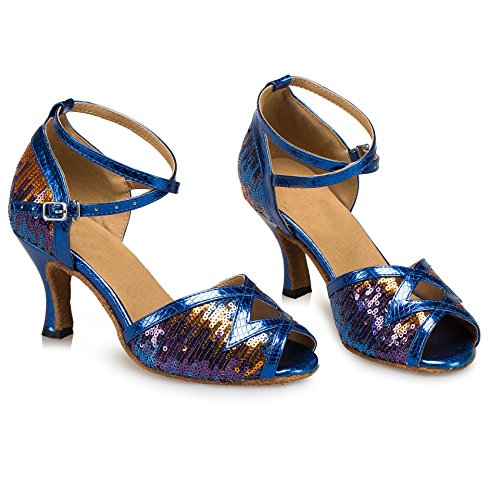 Minitoo L206 Women's Fashion Sequin PU Leather Latin Salsa Ballroom Dance Sandals Blue VJxpOWan