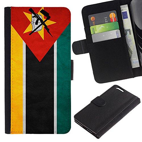 EuroCase - Apple Iphone 6 PLUS 5.5 - Mozambique Grunge Flag - Cuir PU Coverture Shell Armure Coque Coq Cas Etui Housse Case Cover