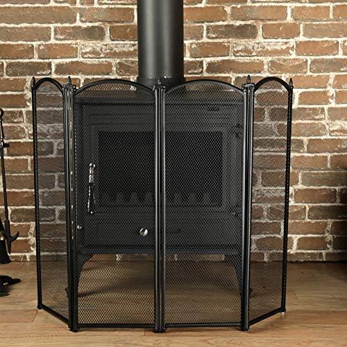 暖炉用のベビーセーフティファイアガードスクリーン、4パネル折りたたみ式エクストラトール暖炉スクリーン、自立式スパークファイアガード