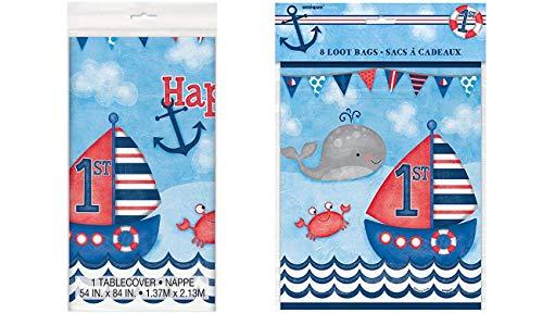 Unique Industries Nautical Boys 1st Birthday Plastic Tablecloth, 84