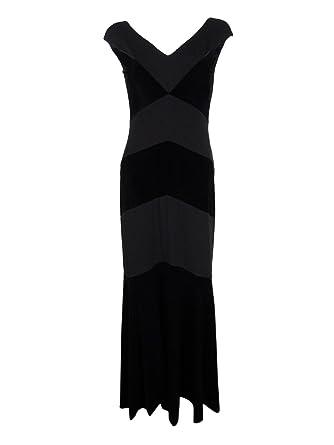 Women\'s Lauren Ralph Lauren V-Neck Velvet Chevron Gown Black 6 at ...