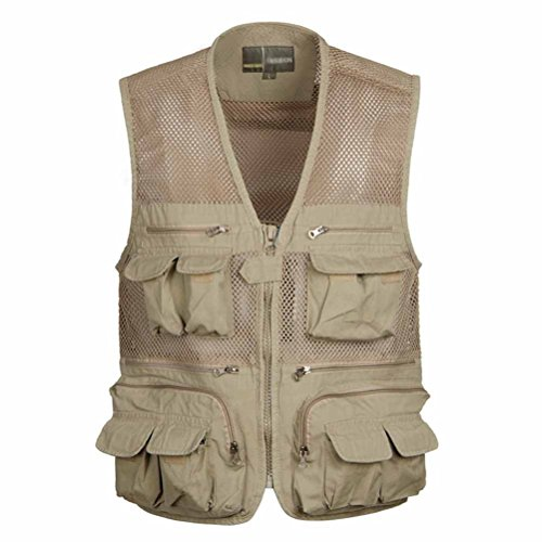 Nanxson(TM) plus size speed dry cotton men fishing photography vest MJM0002 (L, khaki)