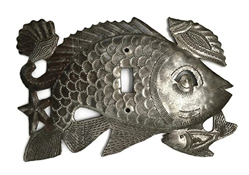 (Metal Outlet Light Covers, Sealife, Fish, Haiti, Handmade From Recycle Oil Drum (Switch))