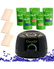 GreenLife® Hair Removal Wax Warmer Kit includes 5 Flavors Hard Wax Beans and 20 Wax Applicator Sticks (Black)