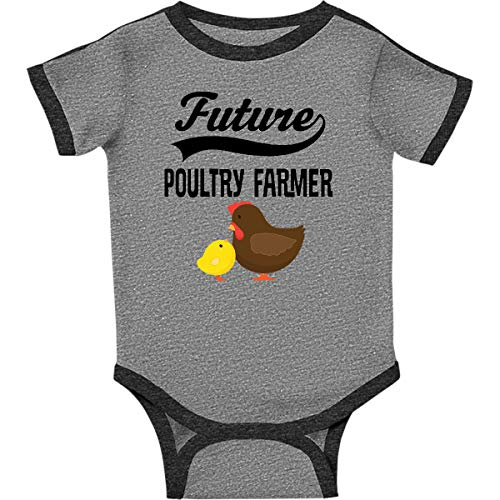 inktastic Future Poultry Farmer Infant Creeper 6 Months Ringer Heather and Smoke ()