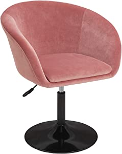 Duhome Jumbo Size Velvet Contemporary Salon Stool with Wheels Home Office Chair Round Swivel Accent Chair Tufted Adjustable Pink