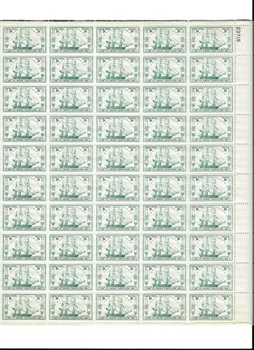 1947 Unused MNH OG Full Sheet (50) 3 Cent Scott Catalog #951 U.S. Frigate Constitution 1797-1947 150 Year Anniversary Mint Never Hinged Original Gum United States of America Post-World War II WWII WW2 Era Commemorative U.S. Postage Stamps USA ()