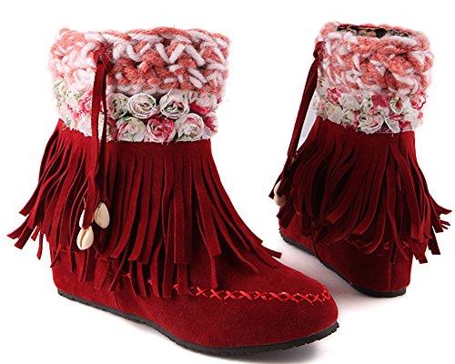 Idifu Femmes Glands Floraux Doux Talon Caché Mi Faux Suède Bottines Courtes Cheville Rouge
