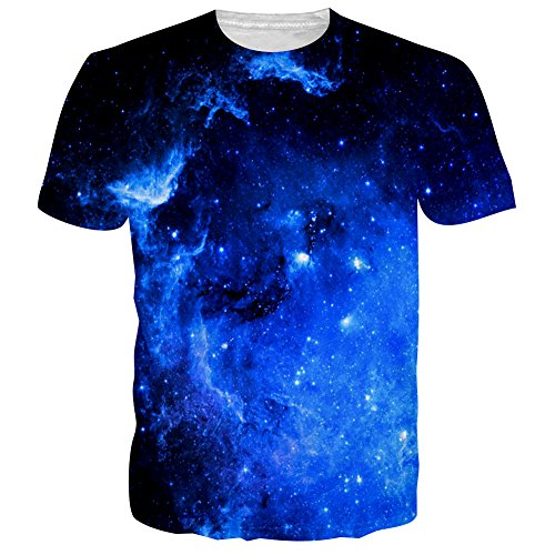 BFUSTYLE Galaxy Shirt, Stylish Blue Nebula All Over Print Shirts Short Sleeve Tee Top for Funny Men(L,Blue Nebula) Sublimation Graphic Tee