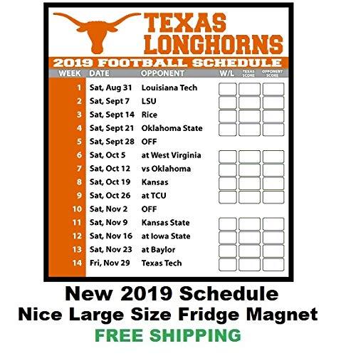 2019 NCAA Texas Longhorns Football Schedule Fridge Magnet #134