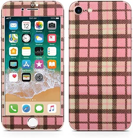 igsticker iPhone SE 2020 iPhone8 iPhone7 専用 スキンシール 全面スキンシール フル 背面 側面 正面 液晶 ステッカー 保護シール 008701 チェック・ボーダー ピンク チェック 模様
