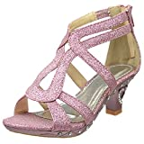 Kids Dress Sandals Glitter Cutout Heart High Heel Pageant Shoes Pink 12