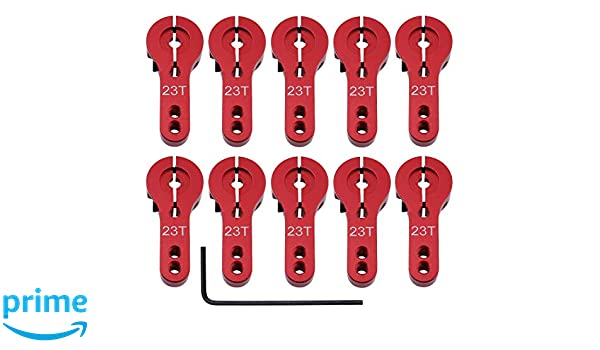 HobbyPark Aluminum Alloy 23T Servo Horns Metal Steering Arms Accessories for RC Car Boat Airplane Hobby Models 23T, Red 10-Pack
