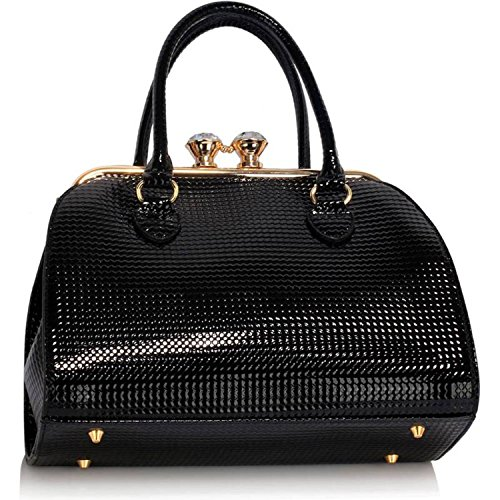 Xardi London, Borsa a spalla donna medium Black Embossed