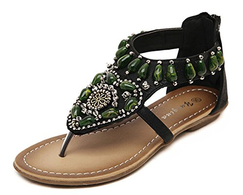 Perles Jds Femmes De Chaussures Noires Pour Mode De T Sandales Bohême Les sangle Fortuning Les De Zptxnvv6W
